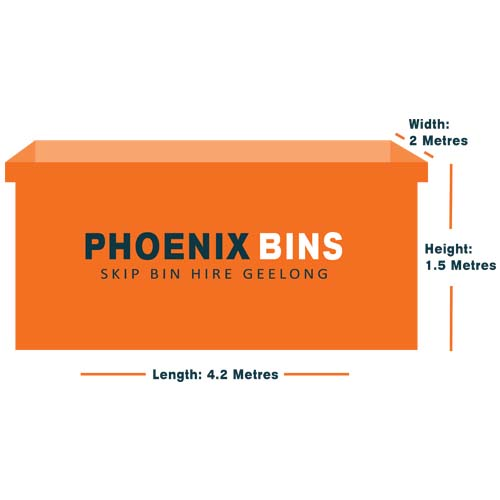 10 cubic metre skip bin for hire measurements